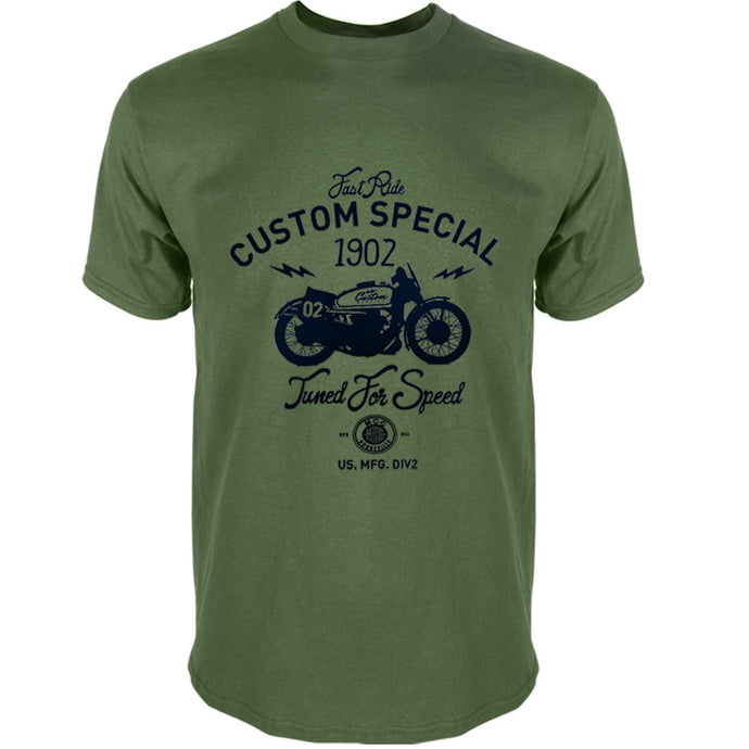 100% COTTON tee shirt homme MOTO CUSTOM