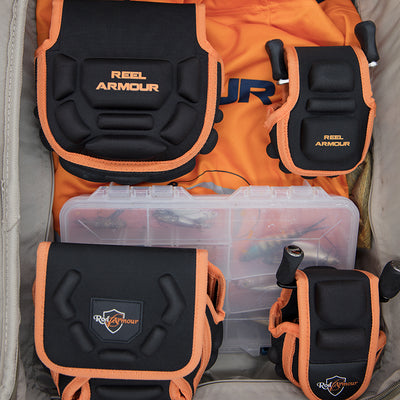 Black and orange spinning and baitcaster fishing reel cases