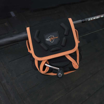 Black and orange spinning reel protective cover