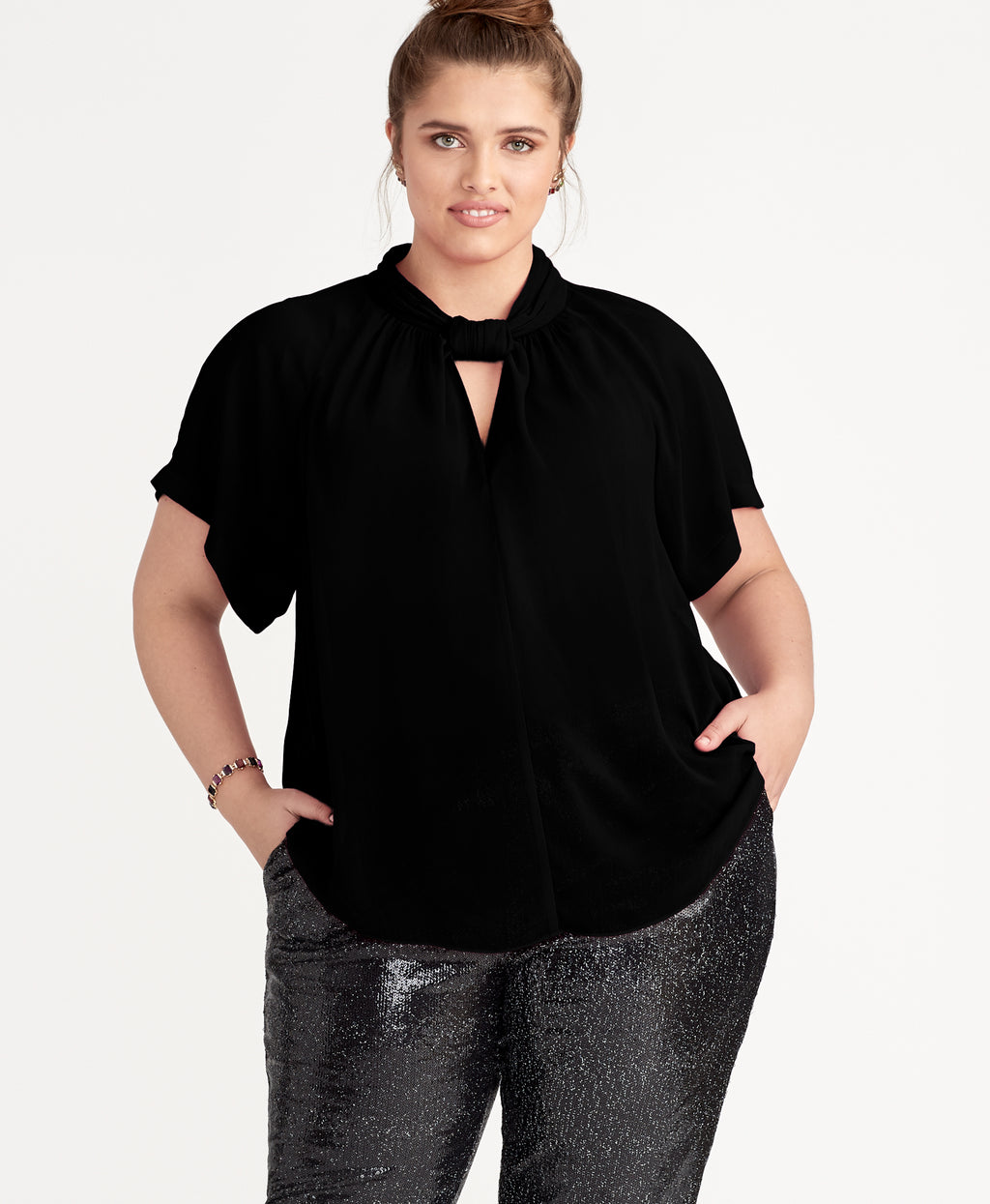 SONIA DRAPE TOP | BLACK