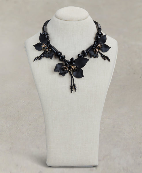Jet Flower Necklace