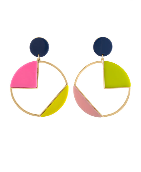 CIRCLE OF COLOR CLIP EARRING