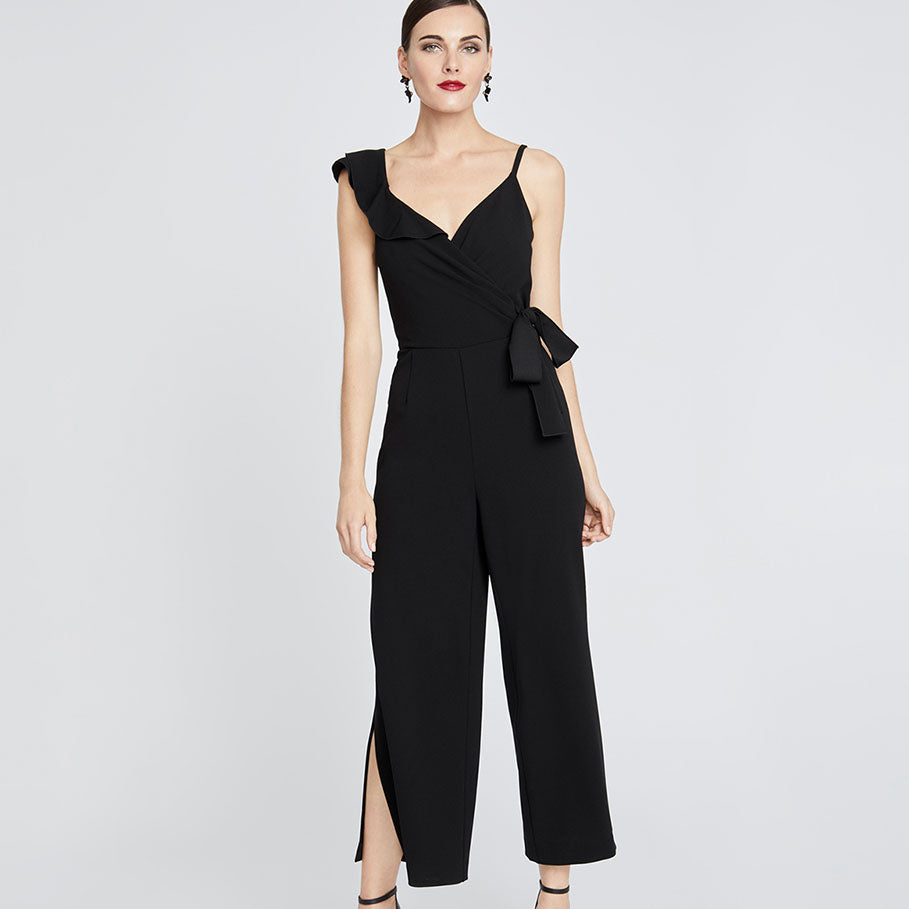 REED WRAP JUMPSUIT | BLACK