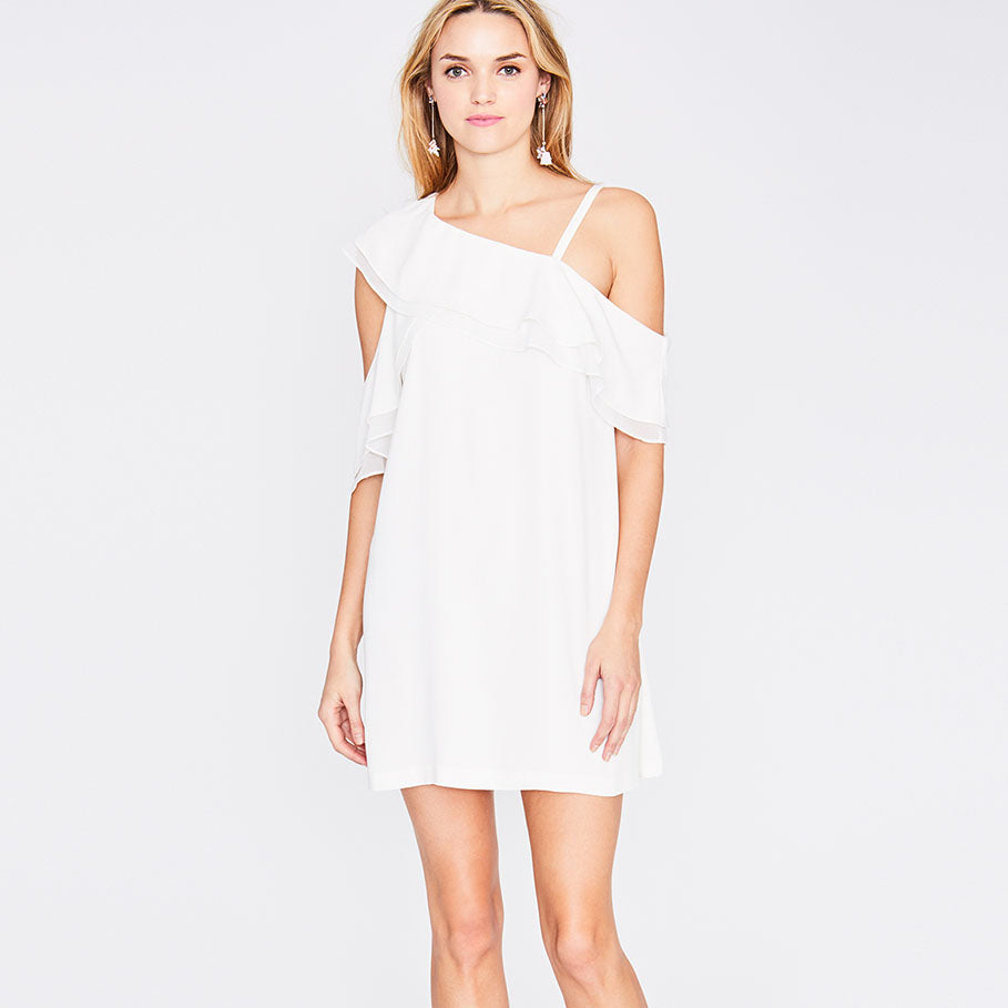 ASYMMETRICAL RUFFLE TRAPEZE DRESS | EGGSHELL