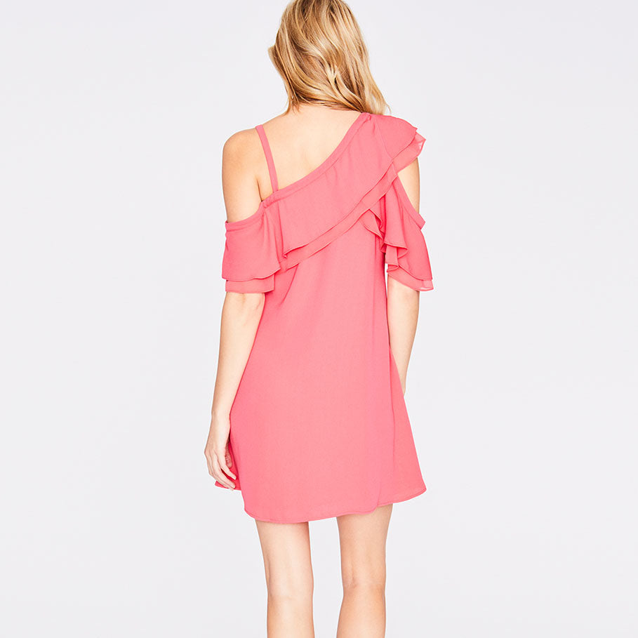 ASYMMETRICAL RUFFLE TRAPEZE DRESS | FLAMINGO