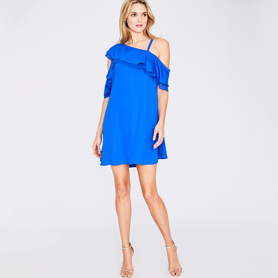 ASYMMETRICAL RUFFLE TRAPEZE DRESS | SILK BLUE