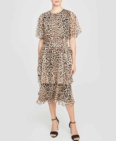 Leopard Tie Waist Dress