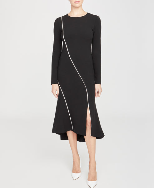 Piped Long Sleeve Dress