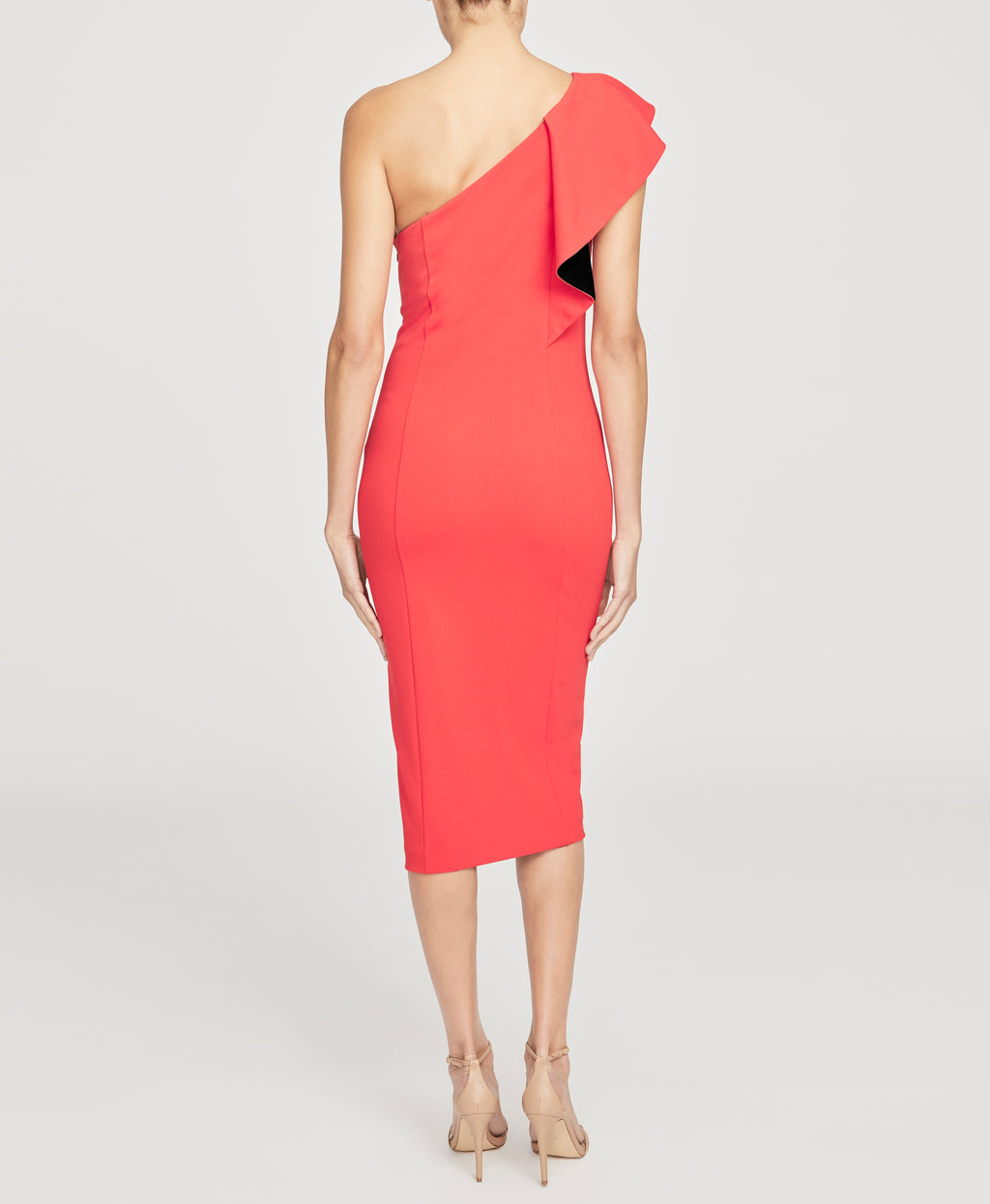 One Shoulder Ruffle Sheath Dress | RADIANT RED