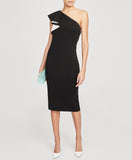 One Shoulder Ruffle Sheath Dress | BLACK