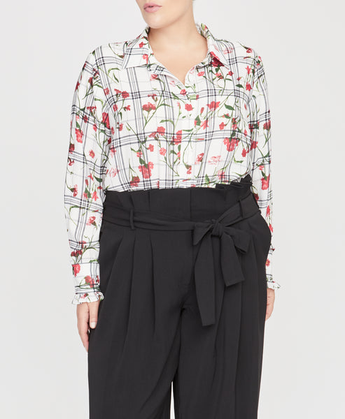 Floral Check Ruffle Cuff Blouse