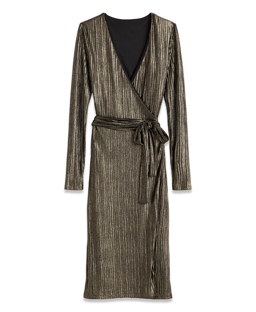 METALLIC WRAP DRESS | METALLIC WRAP DRESS