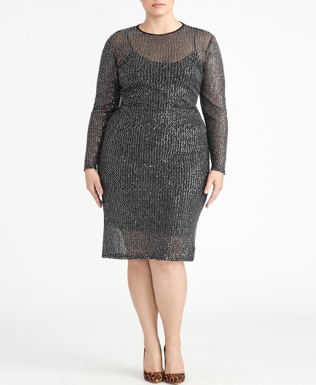 SEQUIN LONG SLEEVE MIDI DRESS | SEQUIN LONG SLEEVE MIDI DRESS