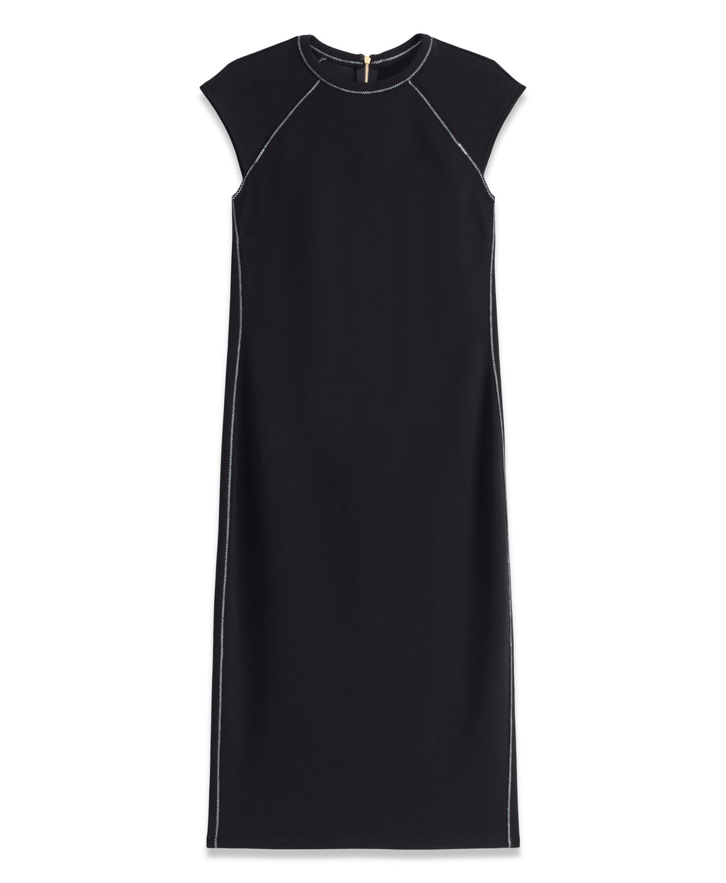 CONTRAST STITCH DRESS | BLACK