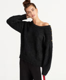 AMARA FUZZY SWEATER | BLACK