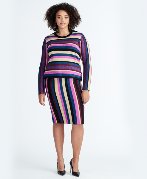VEDA STRIPE SWEATER SKIRT