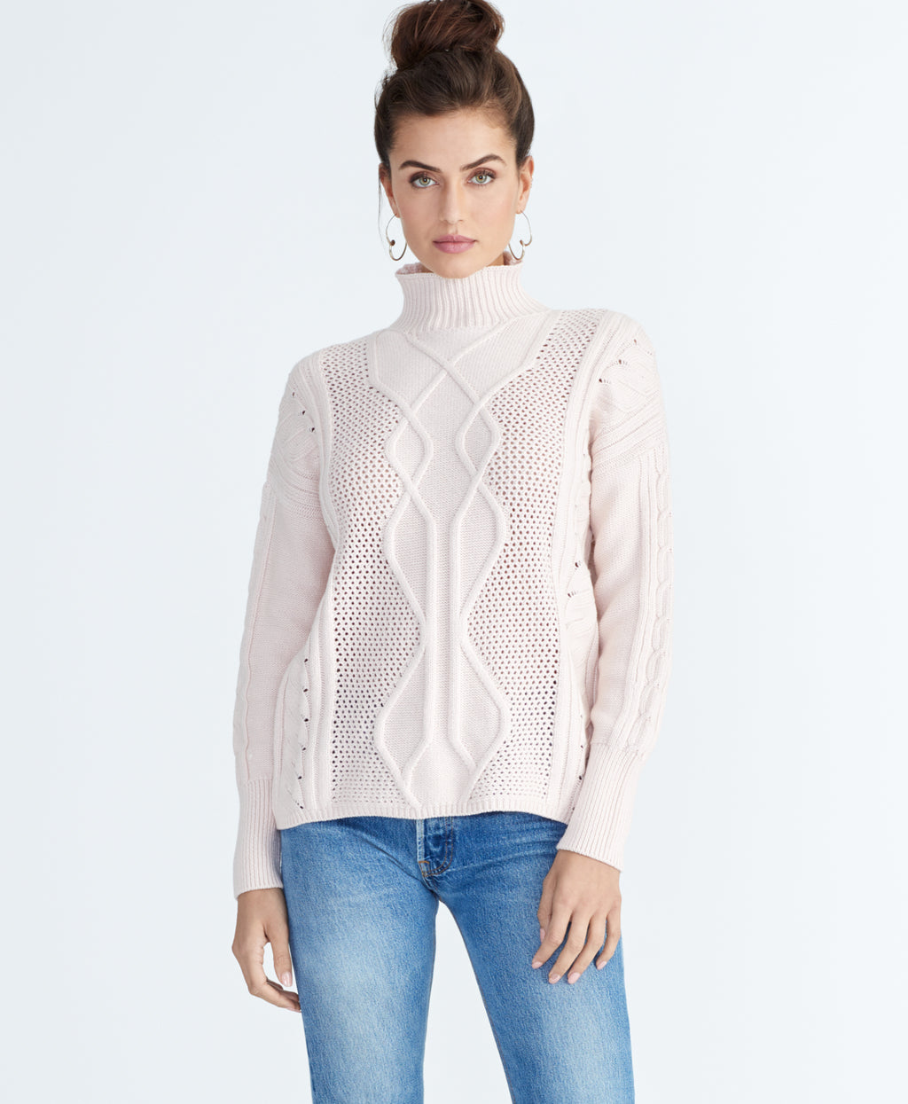IMAN CABLE SWEATER | BLUSH