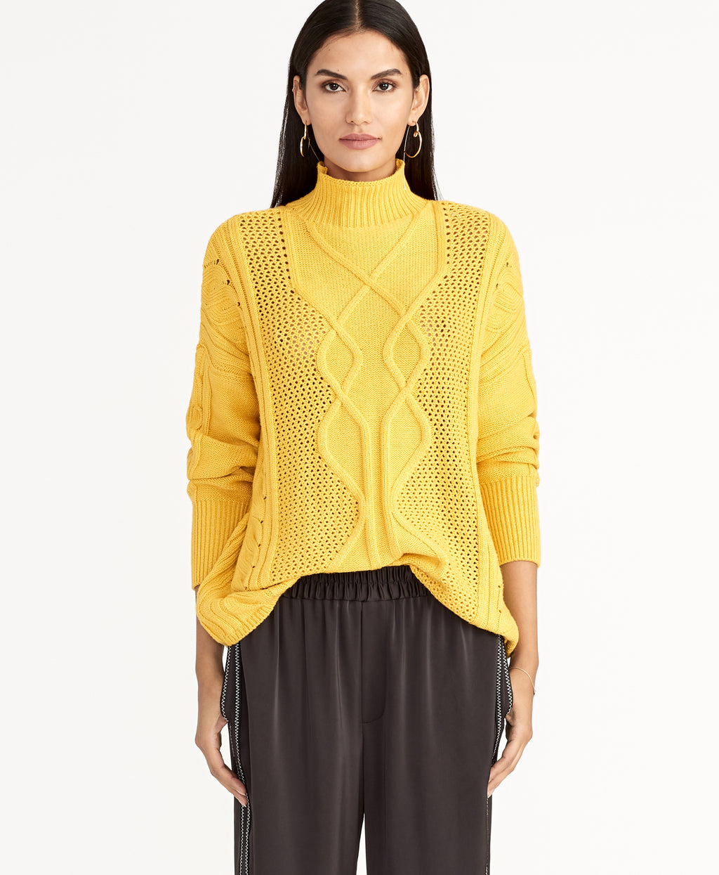 IMAN CABLE SWEATER | MARIGOLD