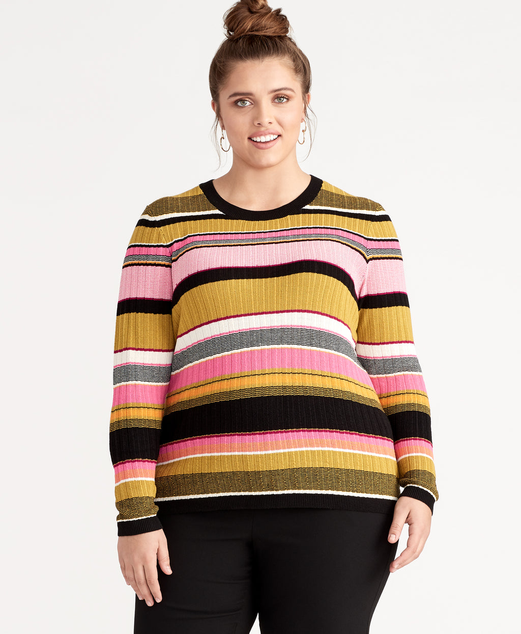 KENNEDY SWEATER | OKRA STRIPE COMBO