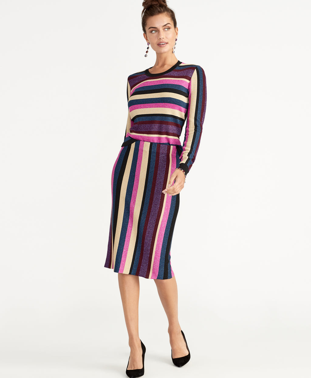 VEDA STRIPE SWEATER SKIRT | STRIPE COMBO