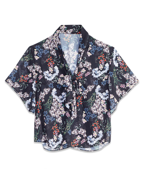 FLORAL BOW BLOUSE