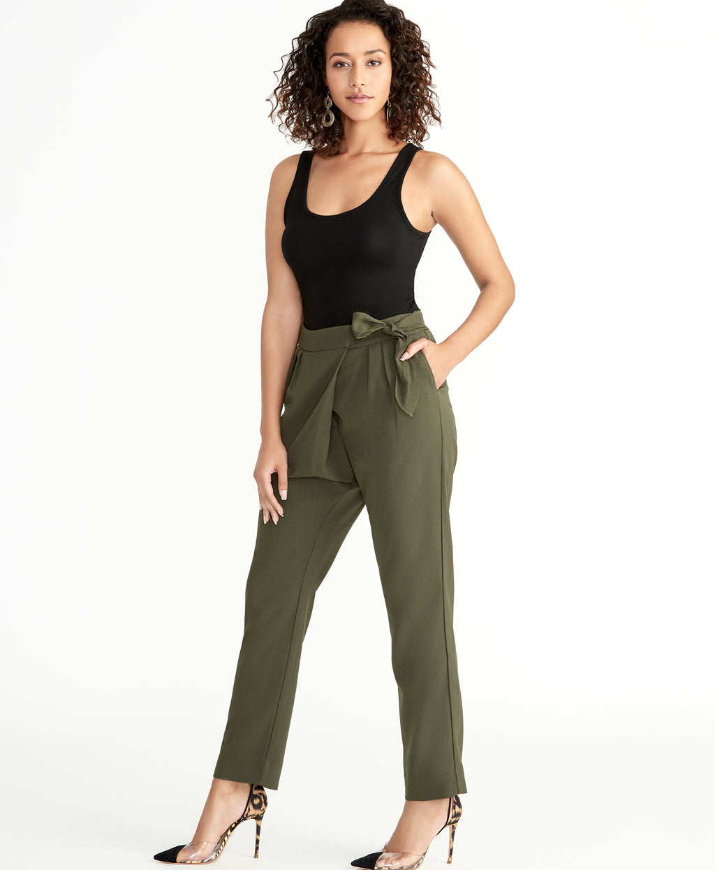 SHELLY TIE WAIST PANT | ARMY GREEN