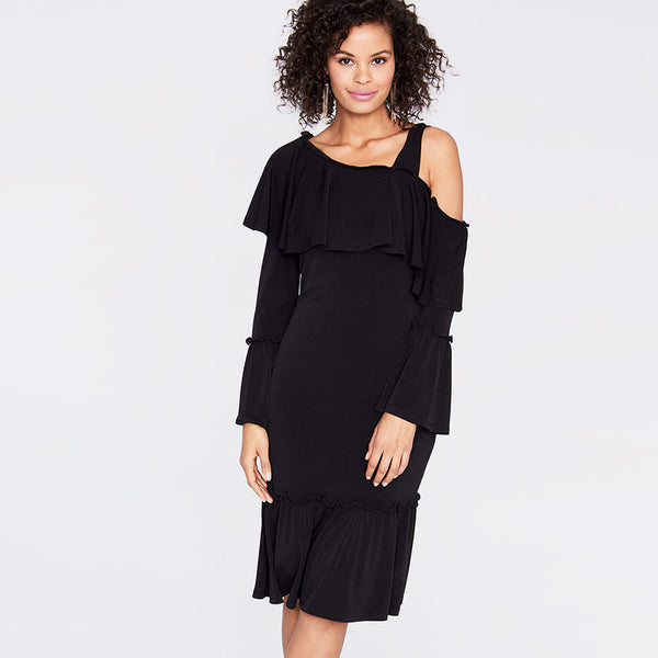 Open Shoulder Ruffle Dress