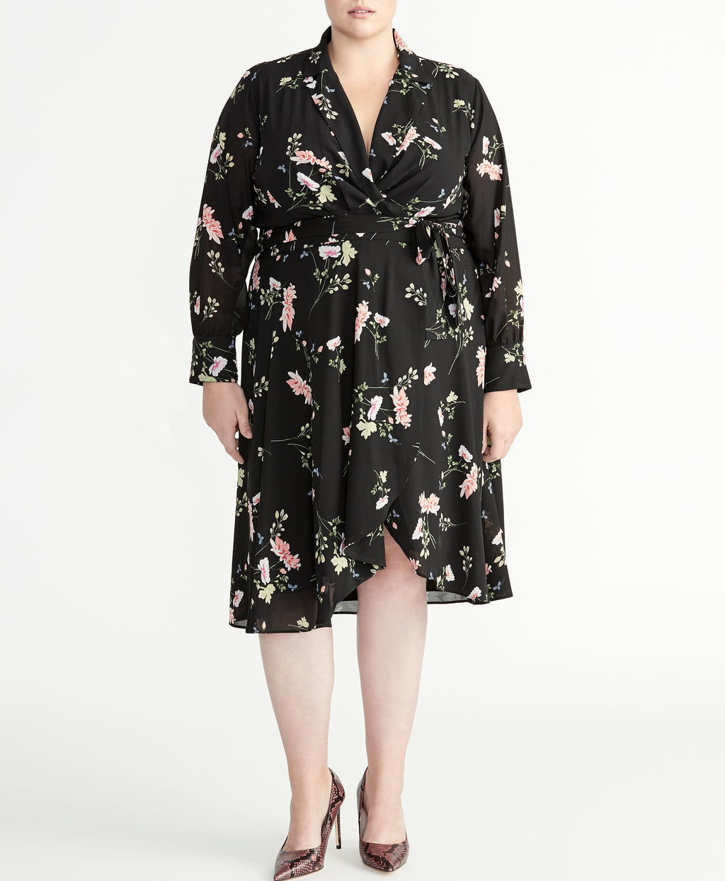Floral Cascade Dress | Black