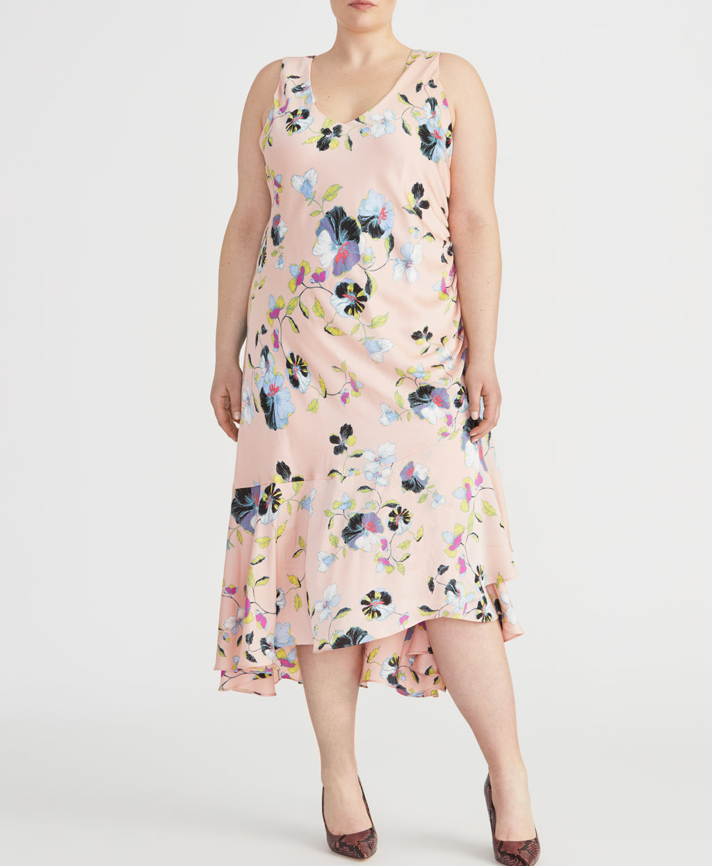 Orchid Flounce Dress | Floral Blush Combo