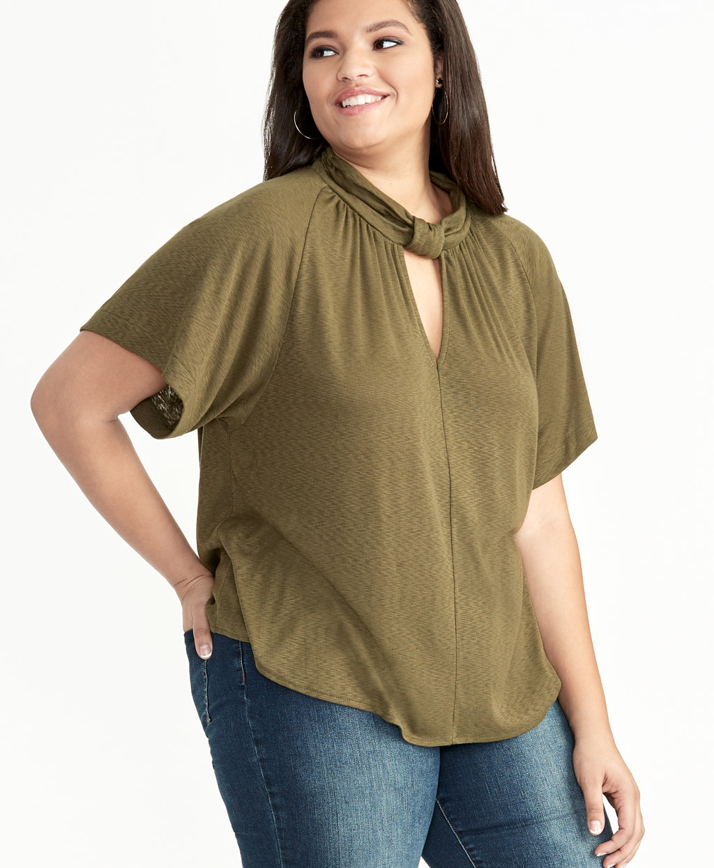 GABRIELLA TIE NECK TOP | ARMY