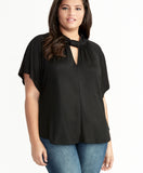 GABRIELLA TIE NECK TOP | BLACK