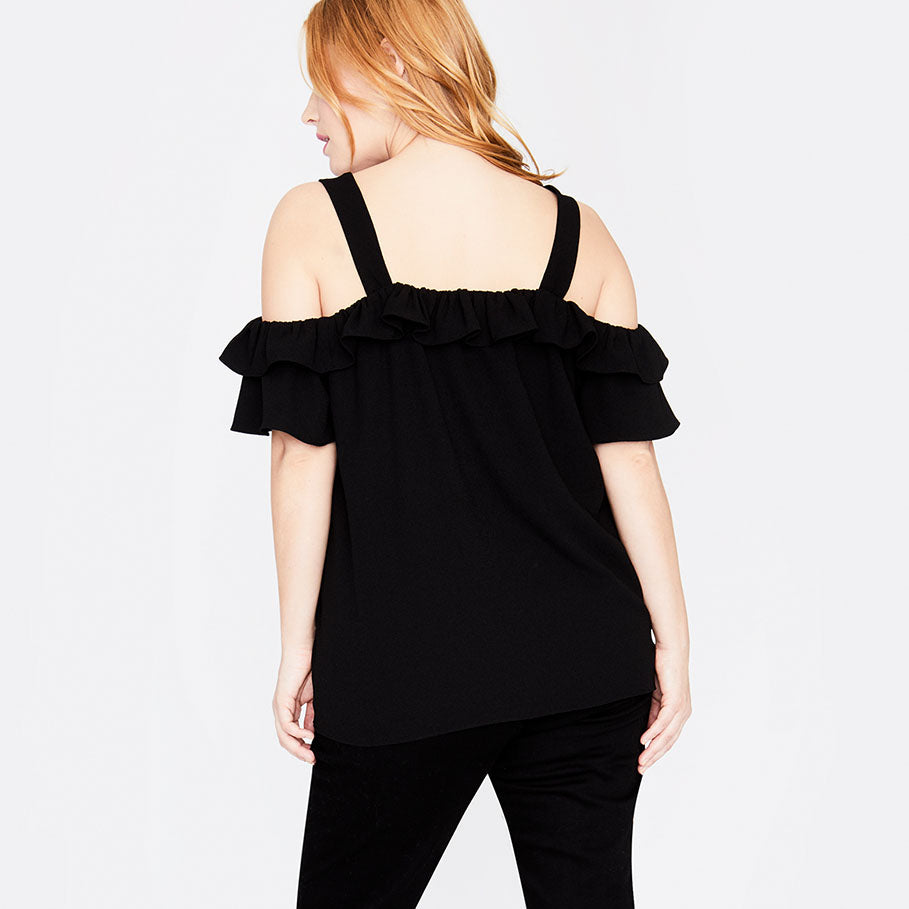 RUFFLE EDGE TOP | BLACK