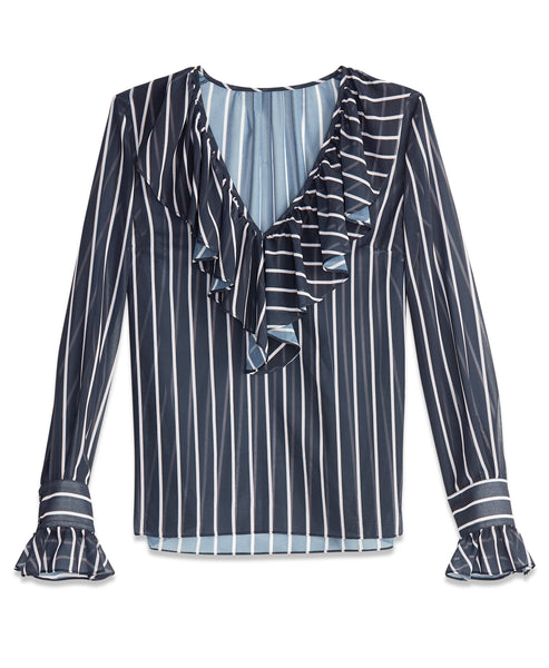 Stripe Ruffle Blouse