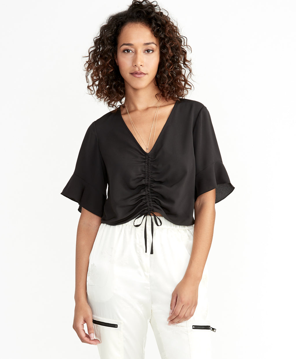 Stacey Ruched Top | Black