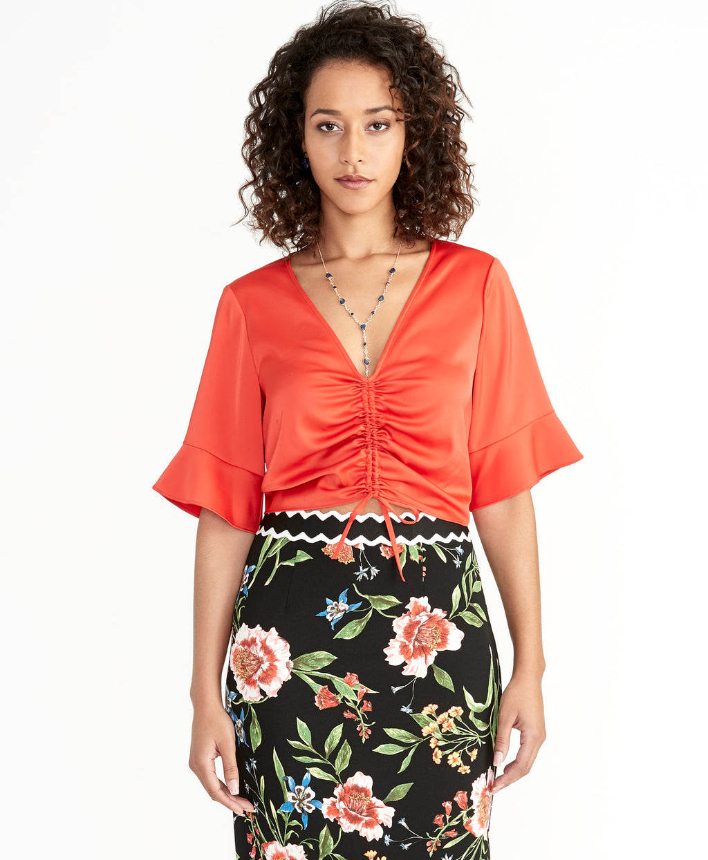 Stacey Ruched Top | Neon Tiger Lily