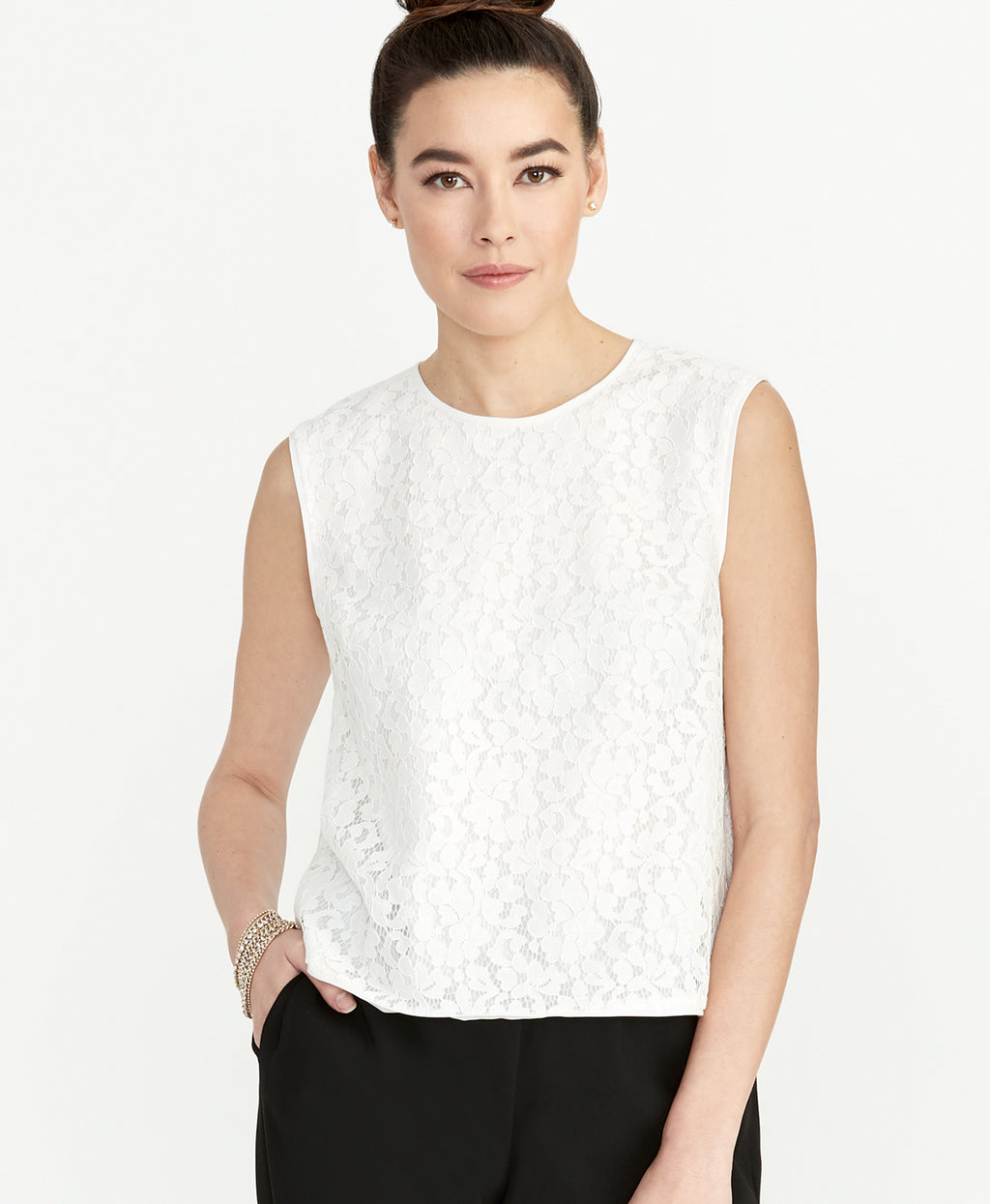 Addie Lace Top | Eggshell