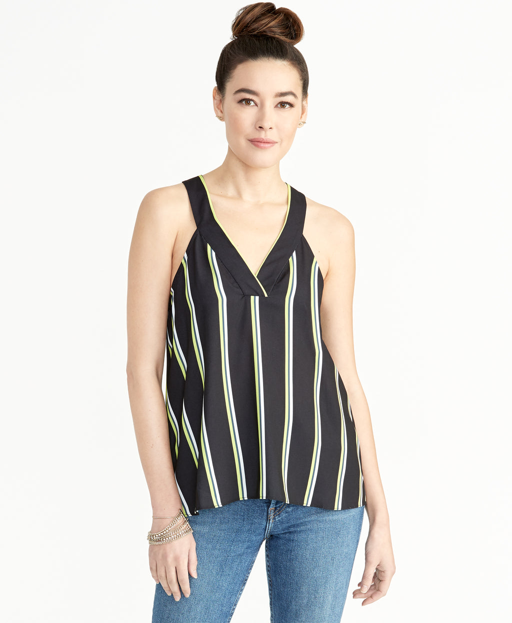 Edina Racer Tank | Blue Stripe