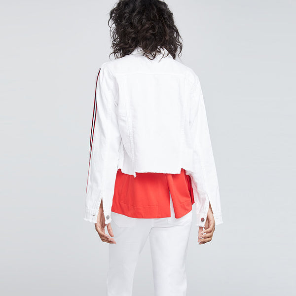 STAGGERED HEM WHITE DENIM JACKET