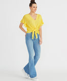 Zinnia Tie Front Top | Sunshine