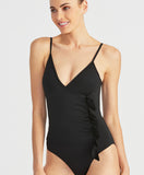 Cascading Ruffle One Piece | Black
