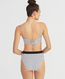 White Lines High Waisted Bottom | Black/White