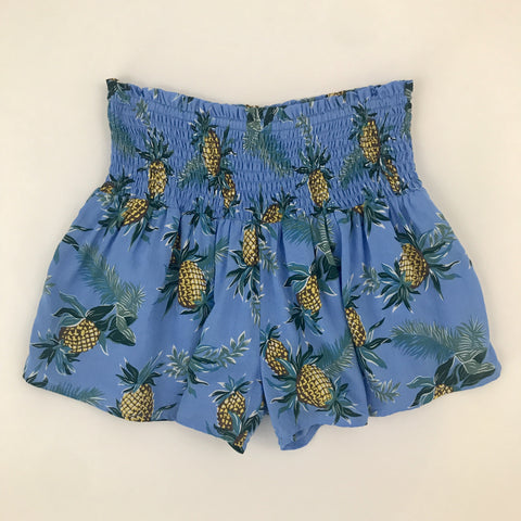 High Waisted Pineapple Print Shorts