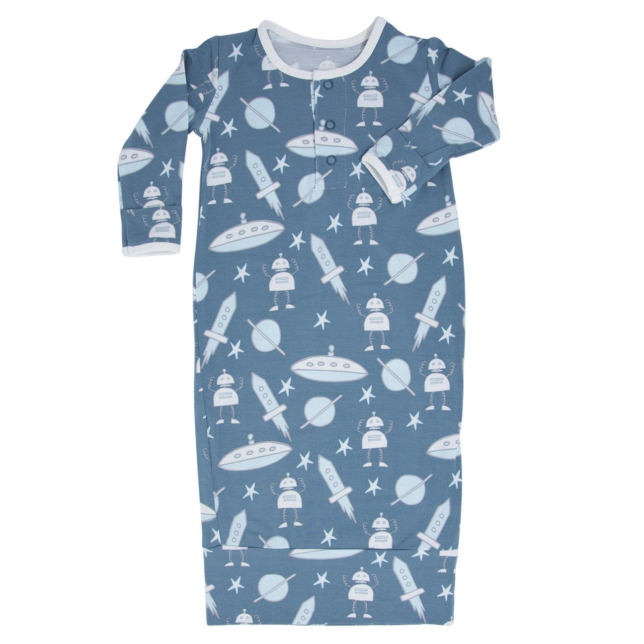 Sweet Bamboo Teal Robots Gown