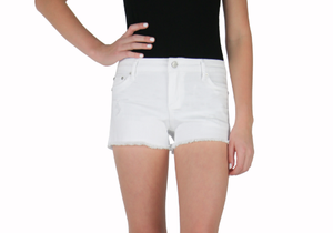 Tractr Brittany White Fray Shorts