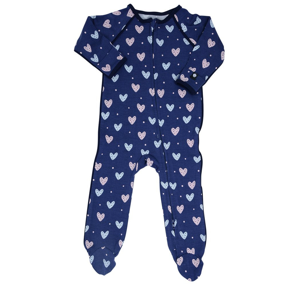 Sweet Bamboo Navy Hearts Footie
