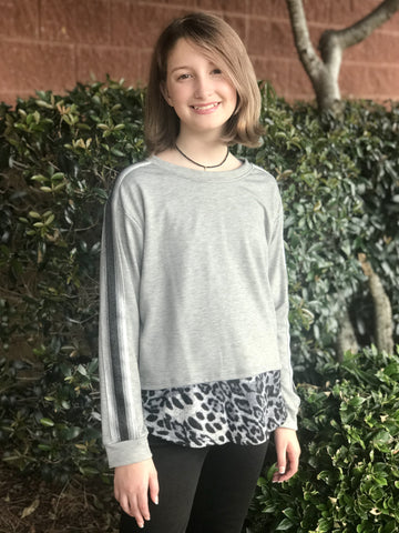 Leopard Trim Sweater