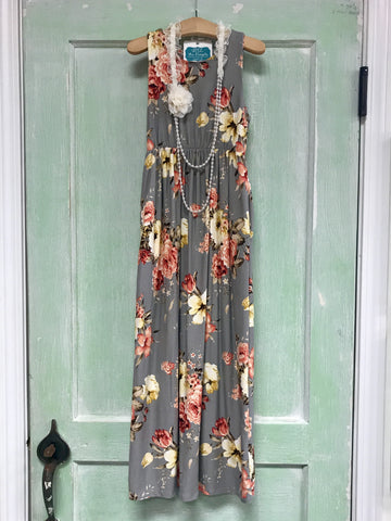Vintage Floral Maxi Dress with Pockets