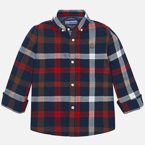Mayoral Slim Fit Plaid Top