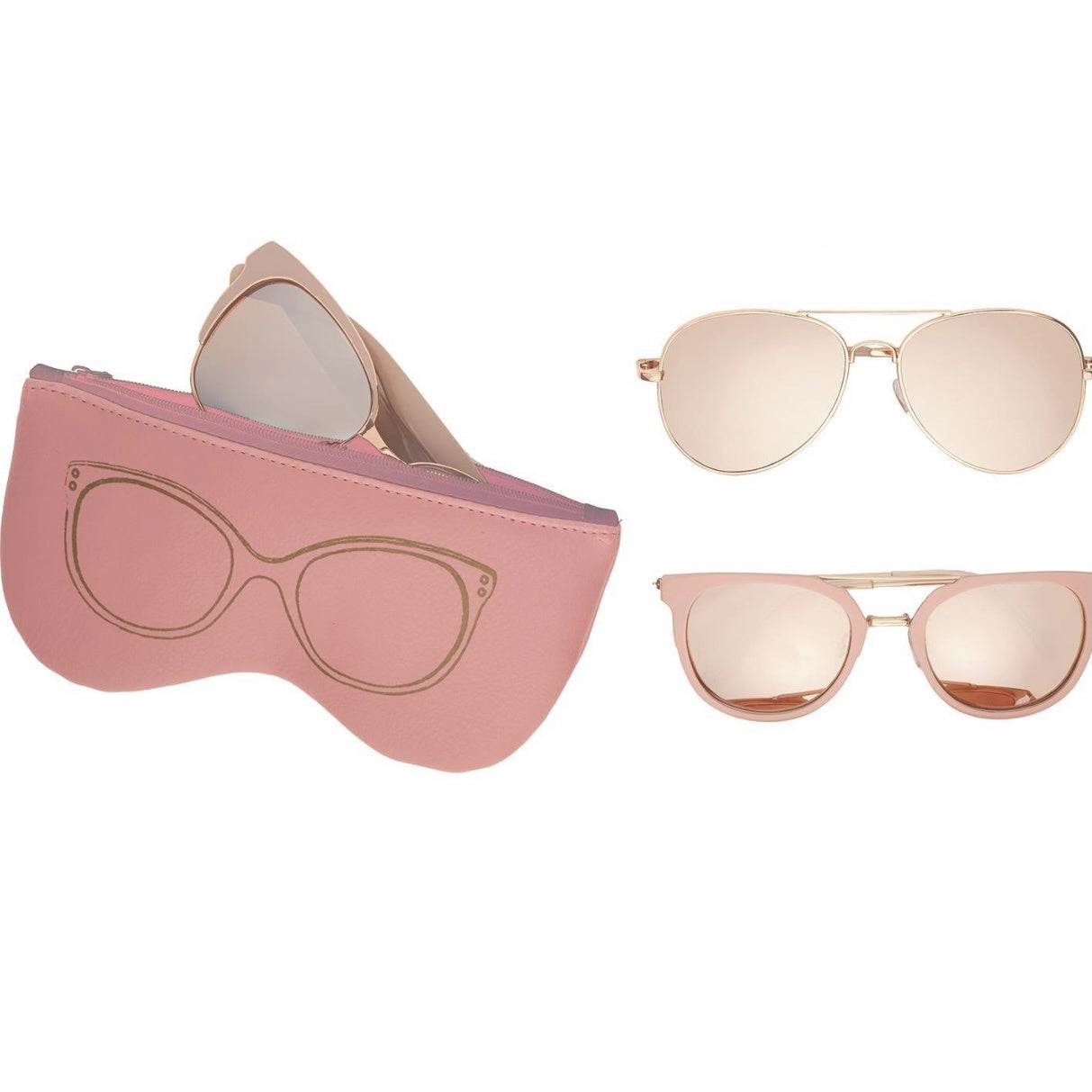 Rose Gold Sunglasses with Pouch