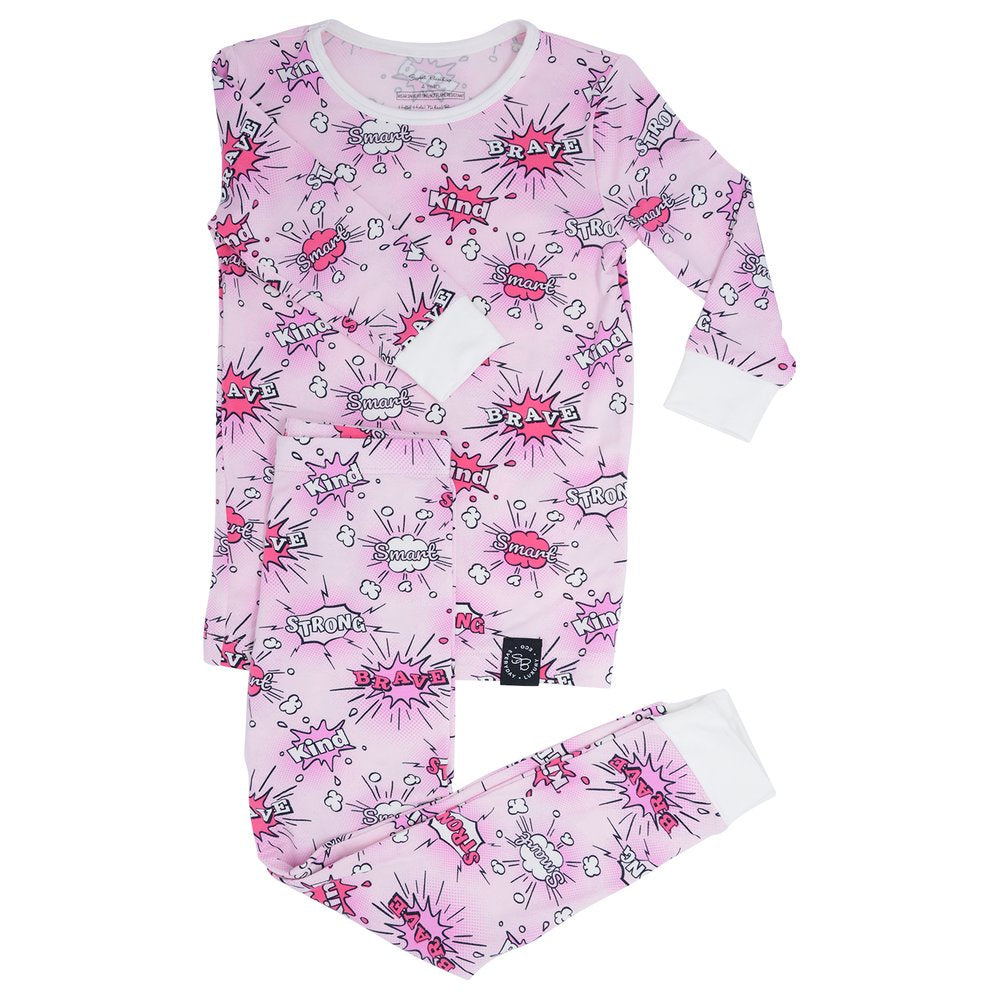 Sweet Bamboo Pink Super Hero PJ Set
